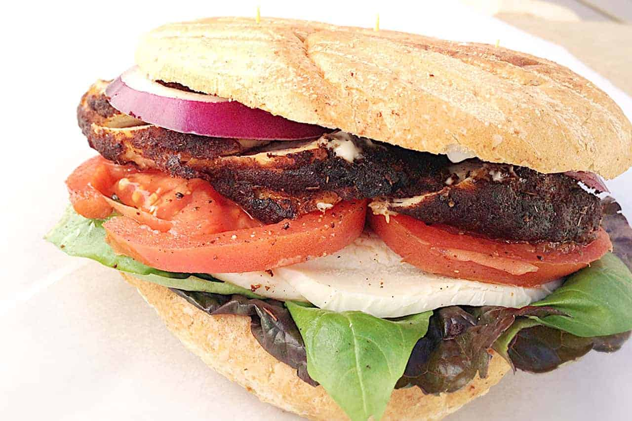 Blackened chicken caprese sandwich