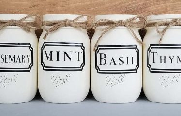 Cream painted Mason jars