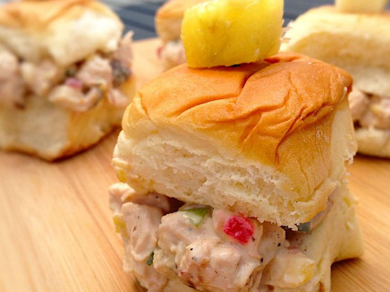 Hawaiian Huli Huli chicken salad sliders