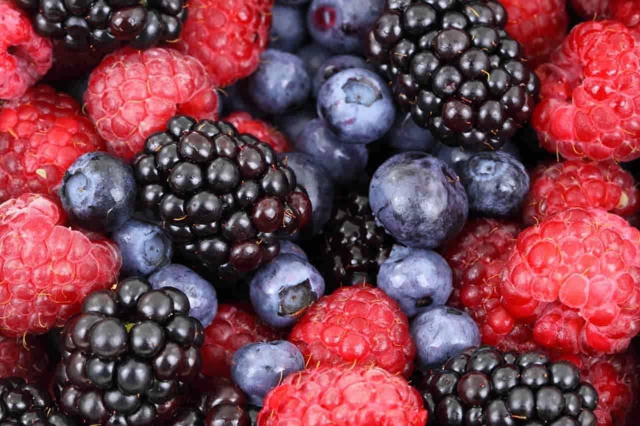 Blackberries, raspberries and blueberries