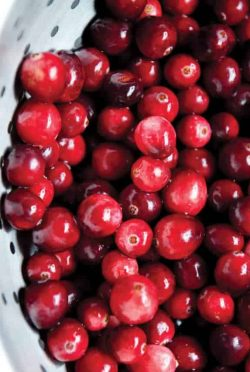 Cranberries in colander