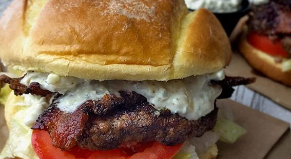 Peppered bacon and blue cheese burger