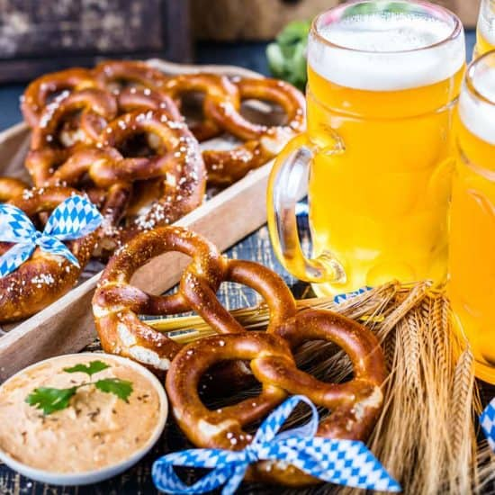 Oktoberfest beers and pretzels