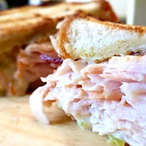 Turkey and bacon sandwich with Hatch pepper pimento cheese